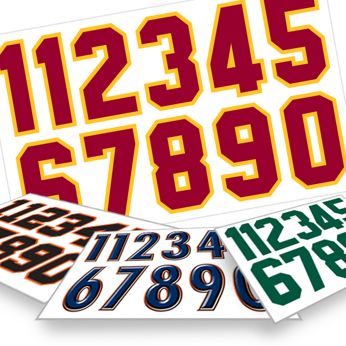 HELMET And EQUIPMENT NUMBERS - Custom vinyl decals numbers for shirts