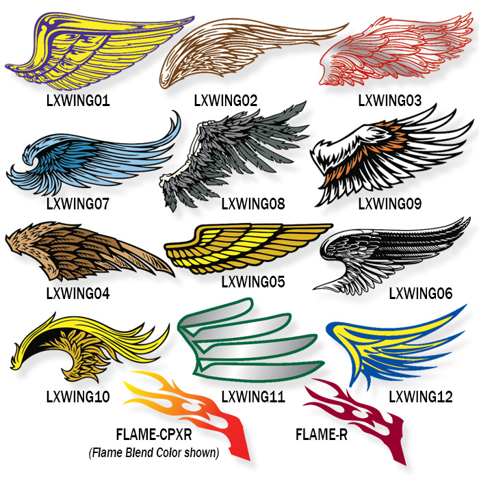 Pro-Tuff Decals selection of lacrosse wing helmet decals