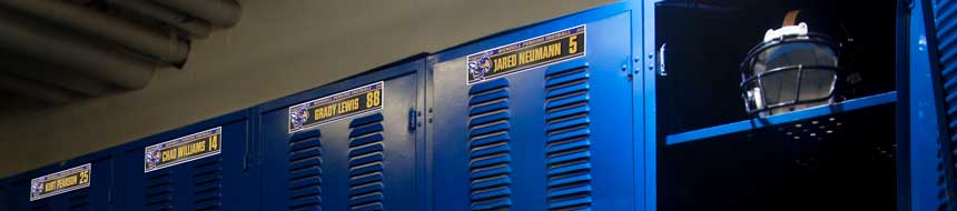 Personalized locker plates in a football locker room