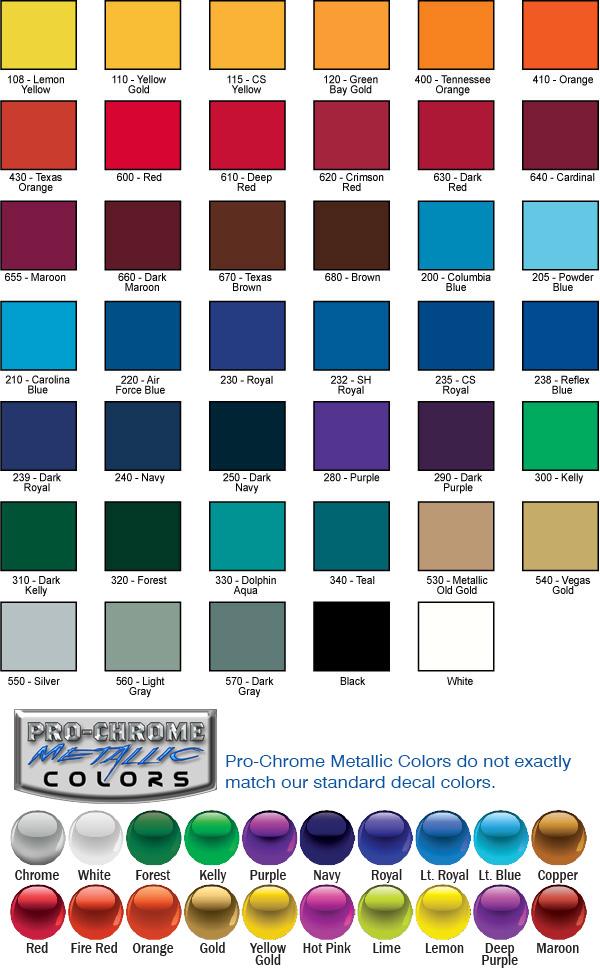 Pro Tuff Helmet Decals Color Chart