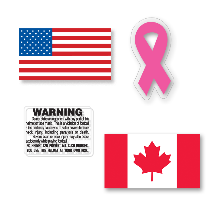 American Flag Stickers Helmet Warning Labels Ribbons Canadian Flag