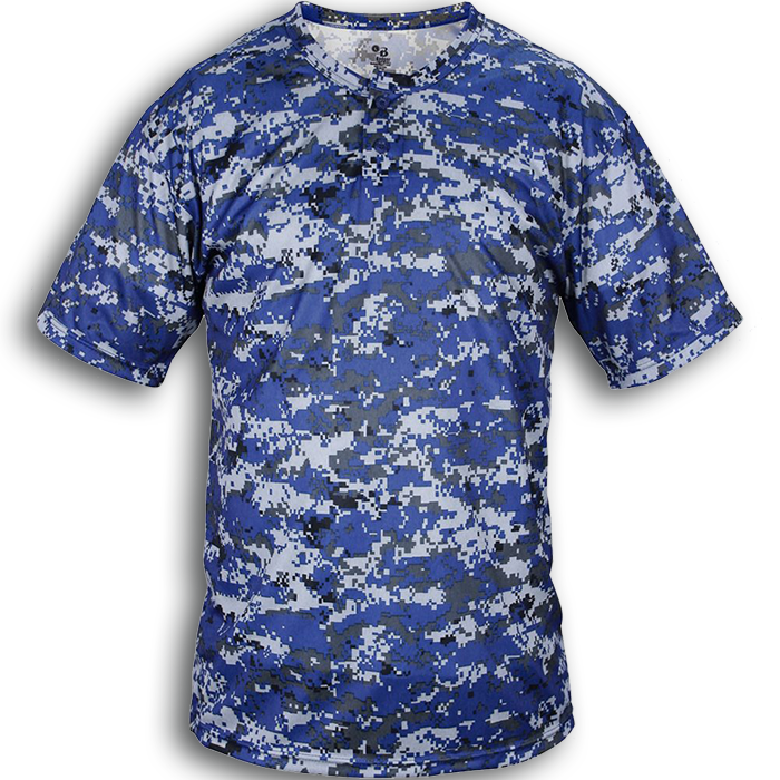 B7980 BADGER B-CORE DIGITAL CAMO PLACKET TEE