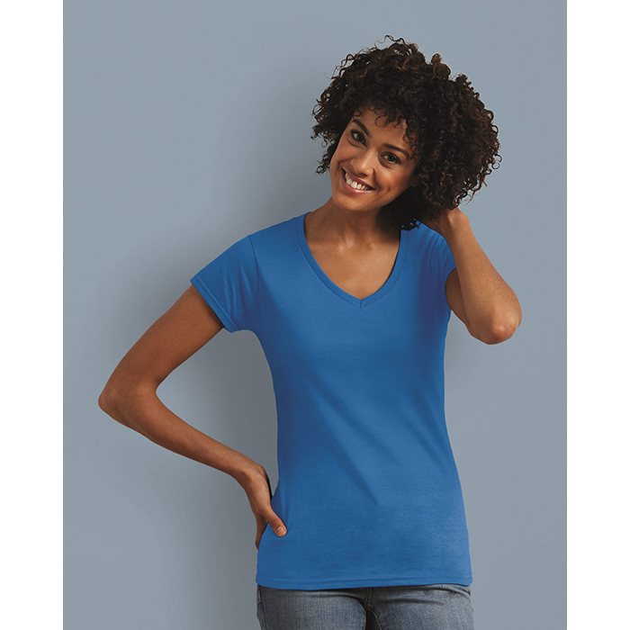 G64V00L Gildan SoftStyle Ladies Short Sleeve V-Neck Semi-Fitted T-Shirt