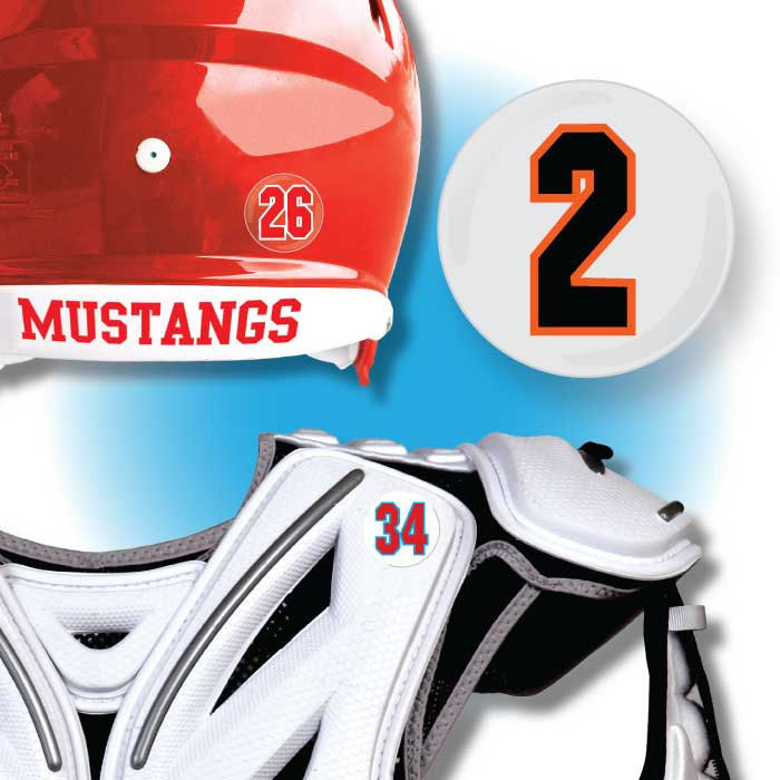 Cut to Shape Helmet and Equipment Numbers | Pro-Tuff Decals